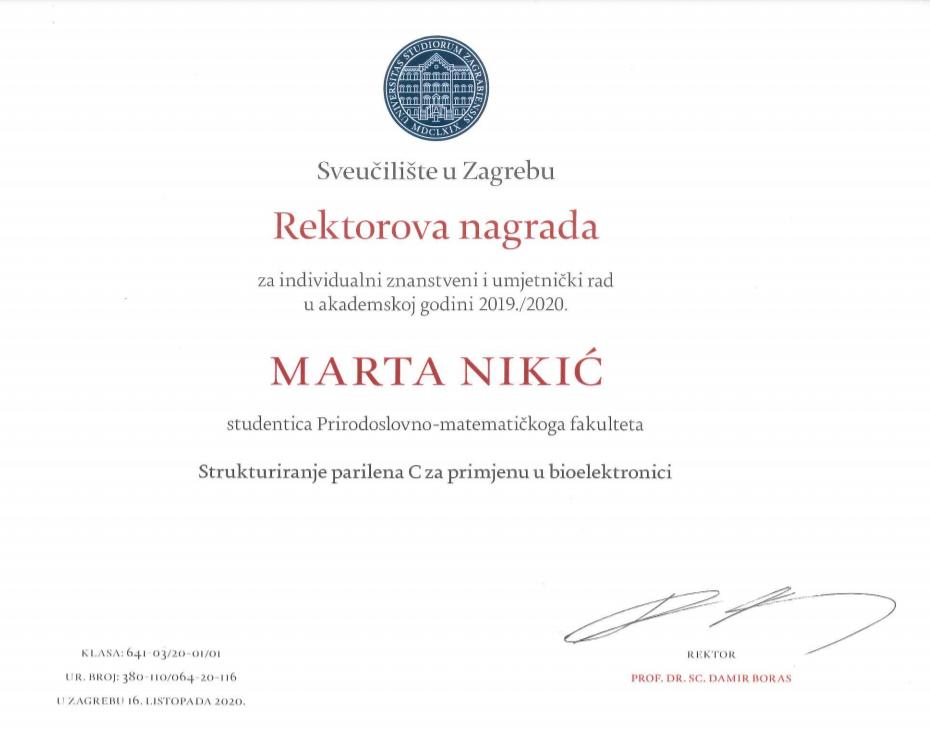 Marta Nikić - Rektorova nagrada